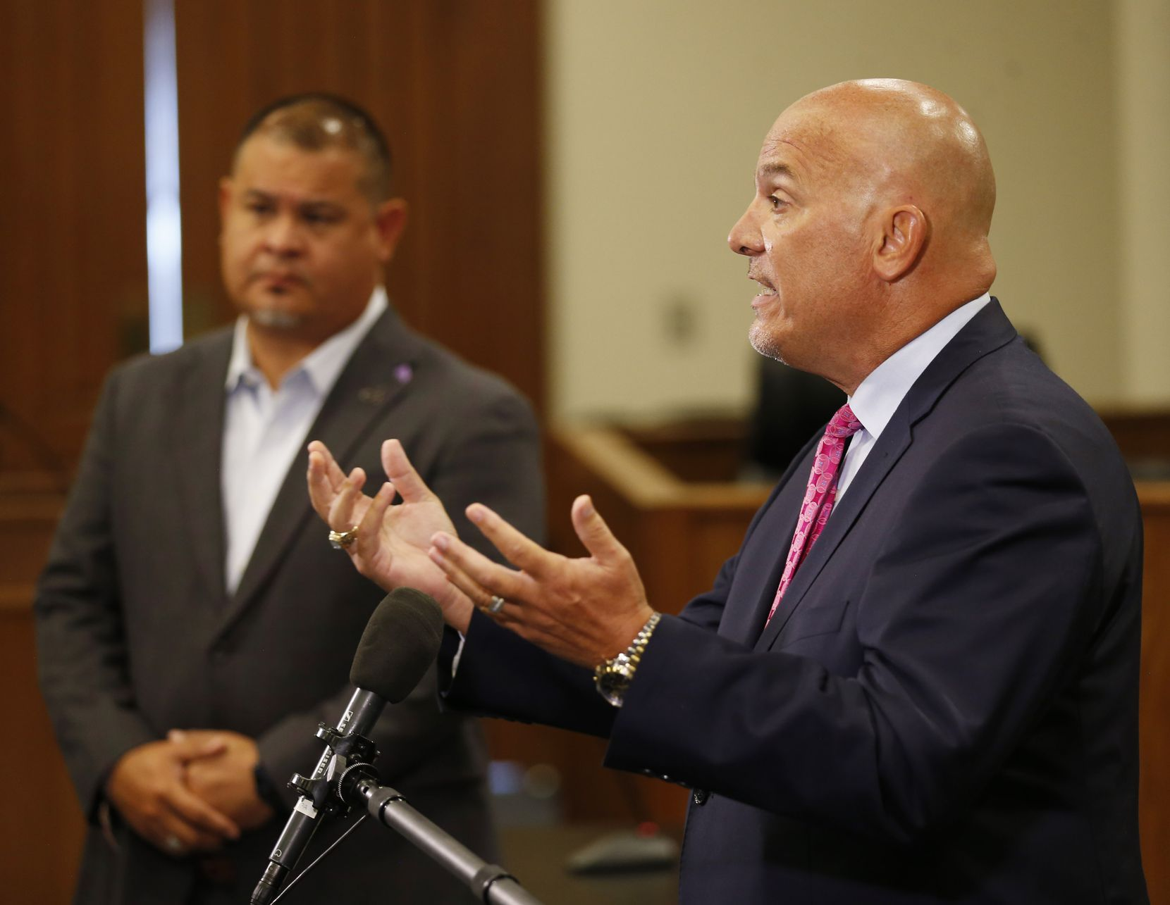 Fort Worth schools Superintendent Kent P. Scribner (right) answers questions about the first six weeks of school being conducted online. Face-to-face instruction will not begin until at least Sept. 28.