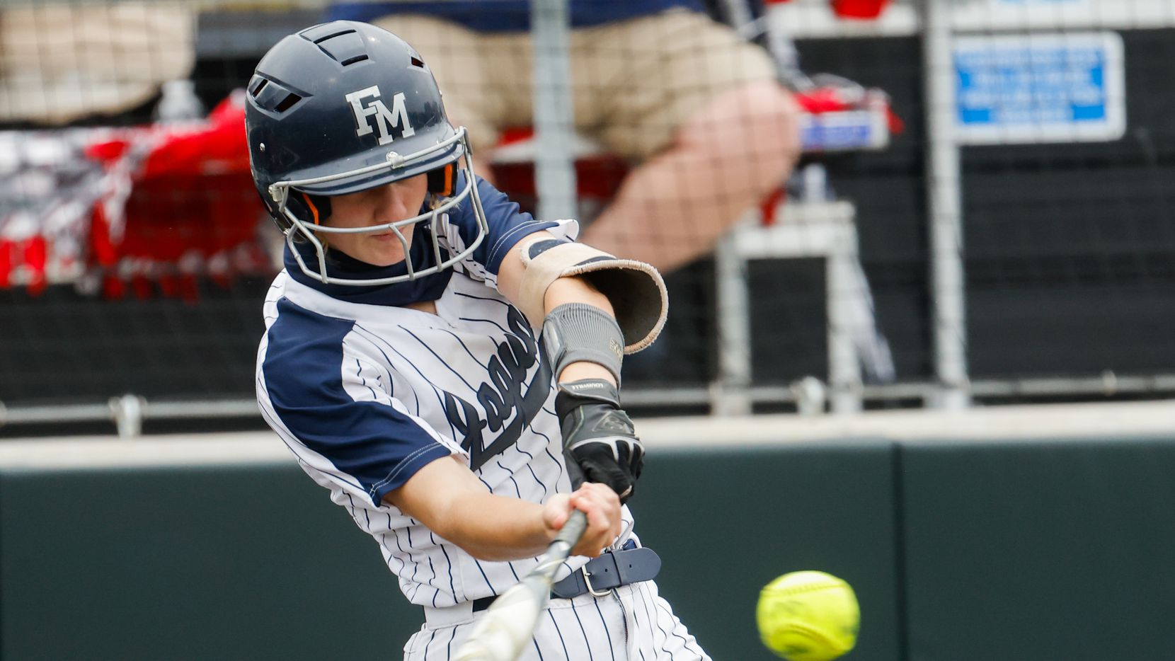 Flower Mound's McKenna Andrews (6) hits the ball against McKinney Boyd during the sixth inning of a Class 6A bi-district playoff game on Friday, April 30, 2021, in Denton. (Juan Figueroa/The Dallas Morning News)