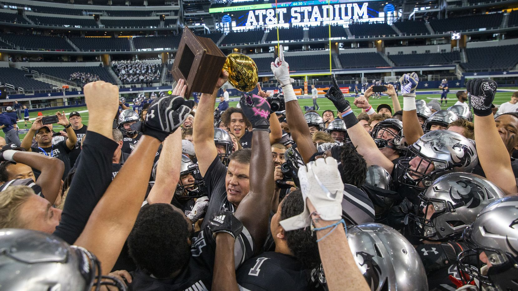 Denton Guyer celebrates after beating Cedar Hill in the Class 6A Division II area-round high school football playoff game at the AT&T Stadium in Arlington, Texas, on Saturday, November 23, 2019. (Lynda M. Gonzalez/The Dallas Morning News)