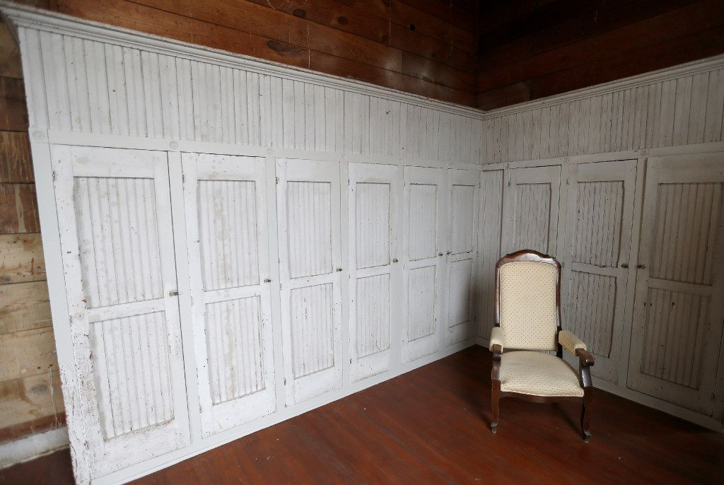 During preservation, Kyle Hobratschk opted to preserve as much of the original structure as possible, including these lockers for the Odd Fellow performers who originally used this space.