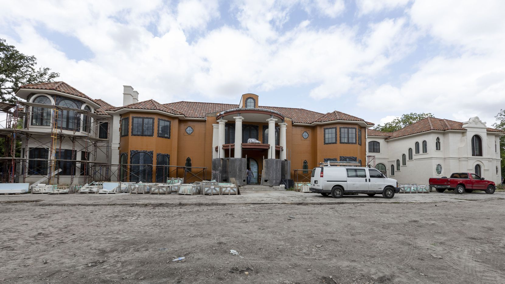 The home is shown under construction at 6915 Baltimore Drive on July 23 in University Park. The 23,688-square-foot home, designed by Richard Drummond Davis, is listed for sale with an asking price of $37.5 million.