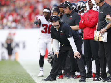 FILE - Cowboys defensive coordinator Dan Quinn, pictured here while he was head coach of the Falcons during a game against the Buccaneers on Dec. 29, 2019, at Raymond James Stadium in Tampa, Fla. (Photo by Michael Reaves/Getty Images)