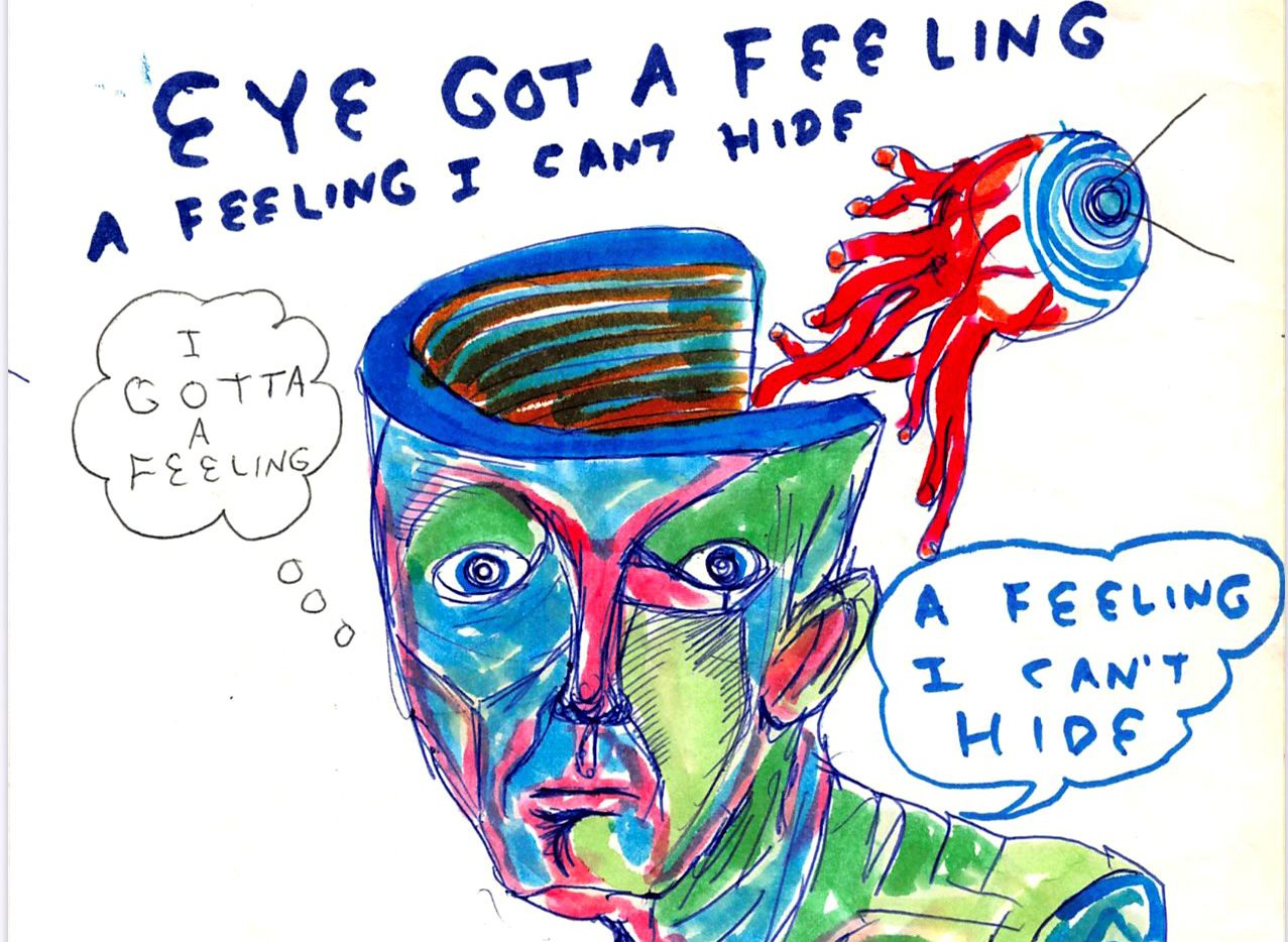 """Daniel Johnston's 1982 drawing """"Eye Got A Feeling"""" (detail shown) is among his works on display at Ro2 Art in the Cedars through July 31."""