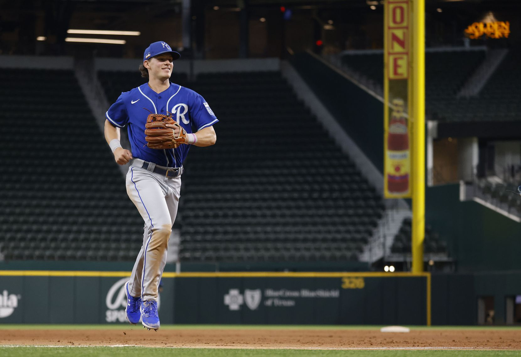 Former Colleyville Heritage shortstop Bobby Witt Jr., the No. 2 overall pick in the 2019 draft, jogs off the field after facing the Texas Rangers minor leaguer.