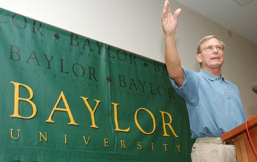 Baylor basketball coach Dave Bliss speaks during a news conference Monday, July 28, 2003, in Waco, Texas. Bliss defended his staff's handling of the problems of players Patrick Dennehy and Carlton Dotson. A body found Friday night in a rural area about five miles south of Waco, not too far from gravel pits where authorities searched last week following the arrest of Dotson, was positively identified Sunday as Dennehy. (AP Photo/Waco Tribune-Herald, Duane A. Laverty)