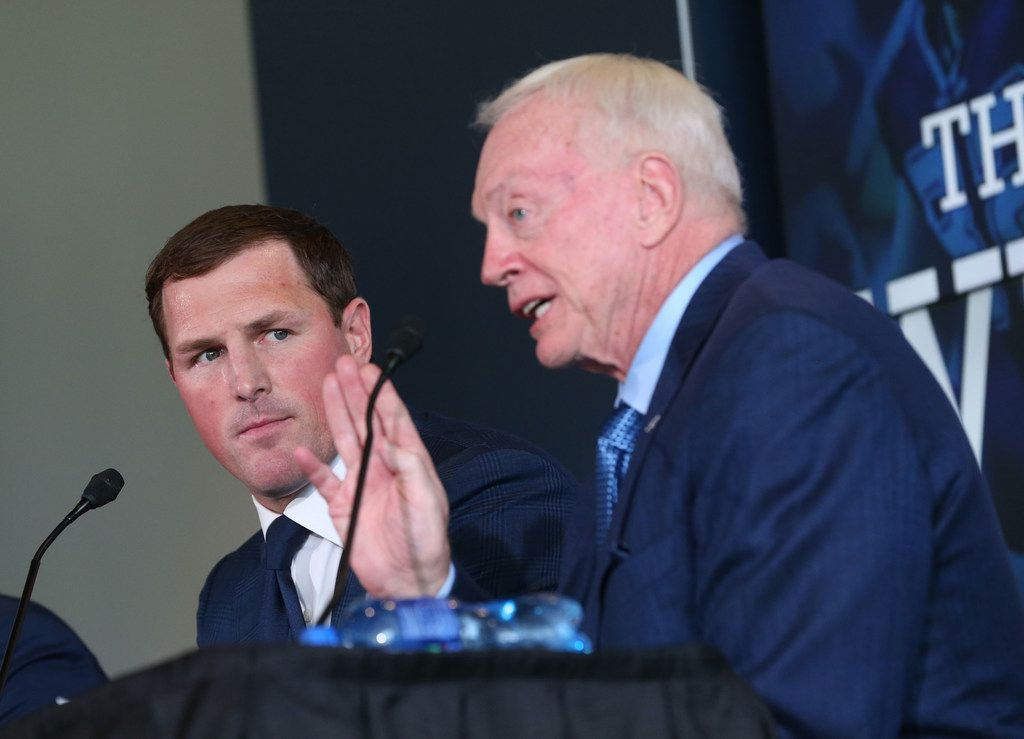 Dallas Cowboys tight end Jason Witten looks over to Dallas Cowboys owner Jerry Jones as he speaks after Witten announced his retirement from the NFL during a news conference at The Star in Frisco, Texas on Thursday, May 3, 2018. (Rose Baca/The Dallas Morning News)