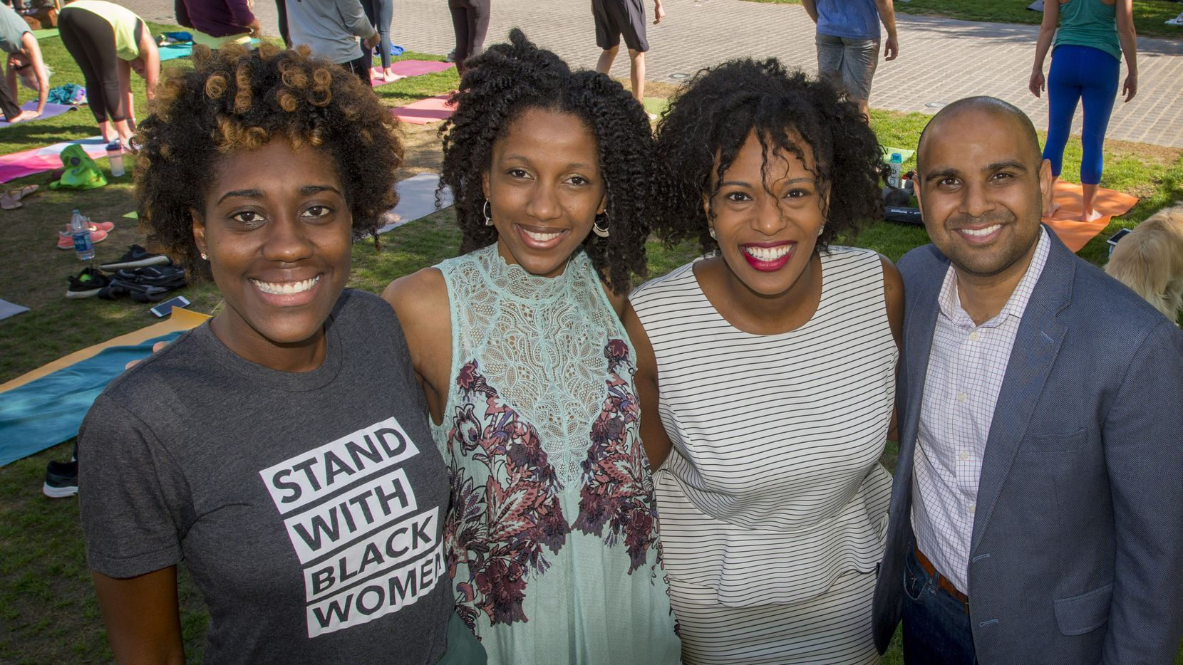 From left; Mercedes Fulbright, Ashley McIver, Bianca Anderson and Sagar Desai are four REAL City fellows, shown at Kyle Warren Park.