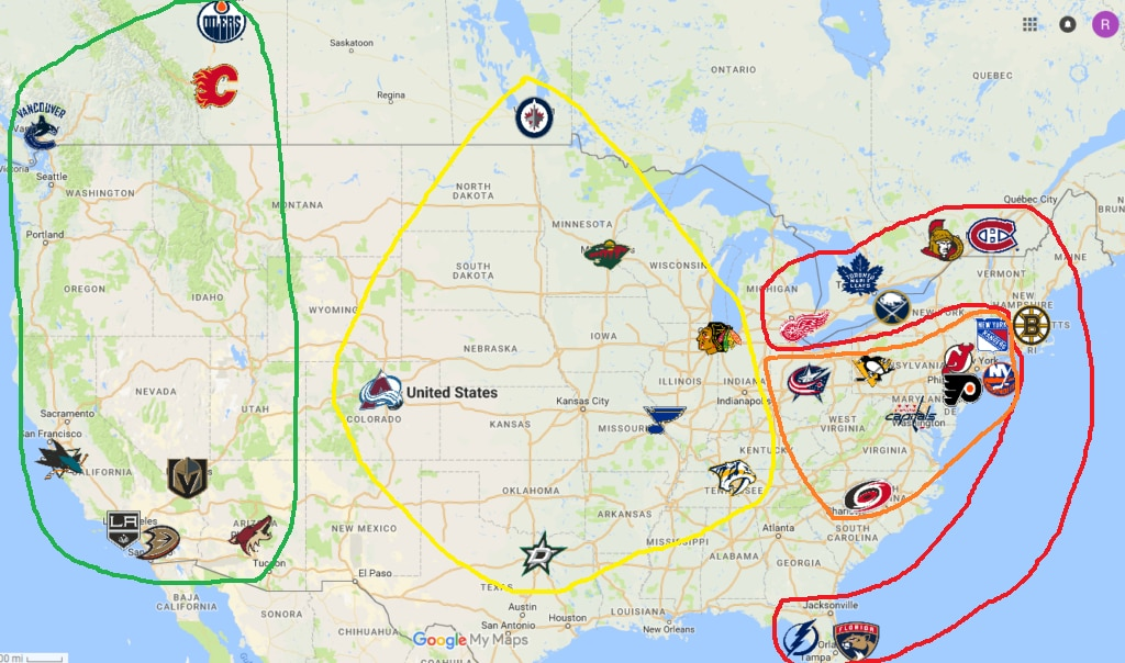 The NHL's previous divisional alignment before realignment this season.