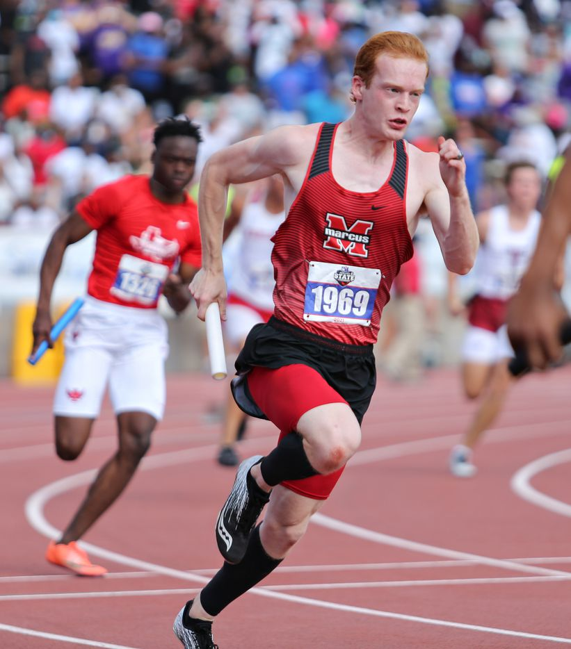 Ryan Dyess Coyle of Flower Mound Marcus competes in the 6A Boys 4x100 meter relay during the UIL state track meet at the Mike A. Myers Stadium, at the University of Texas on May 8, 2021 in Austin, Texas.