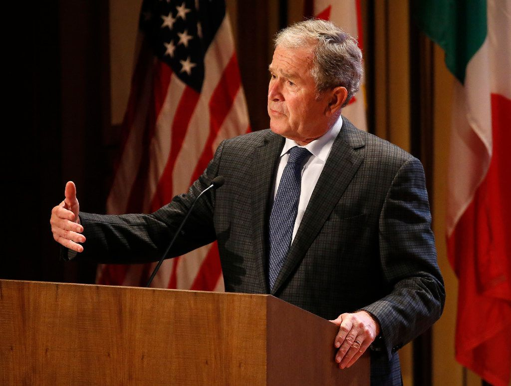 Former President George W. Bush speaks during the 2016 North American Strategy for Competitiveness (NASCO) Continental Reunion at George W. Bush Presidential Center in Dallas, Tuesday, Nov. 15, 2016. (Jae S. Lee/The Dallas Morning News)