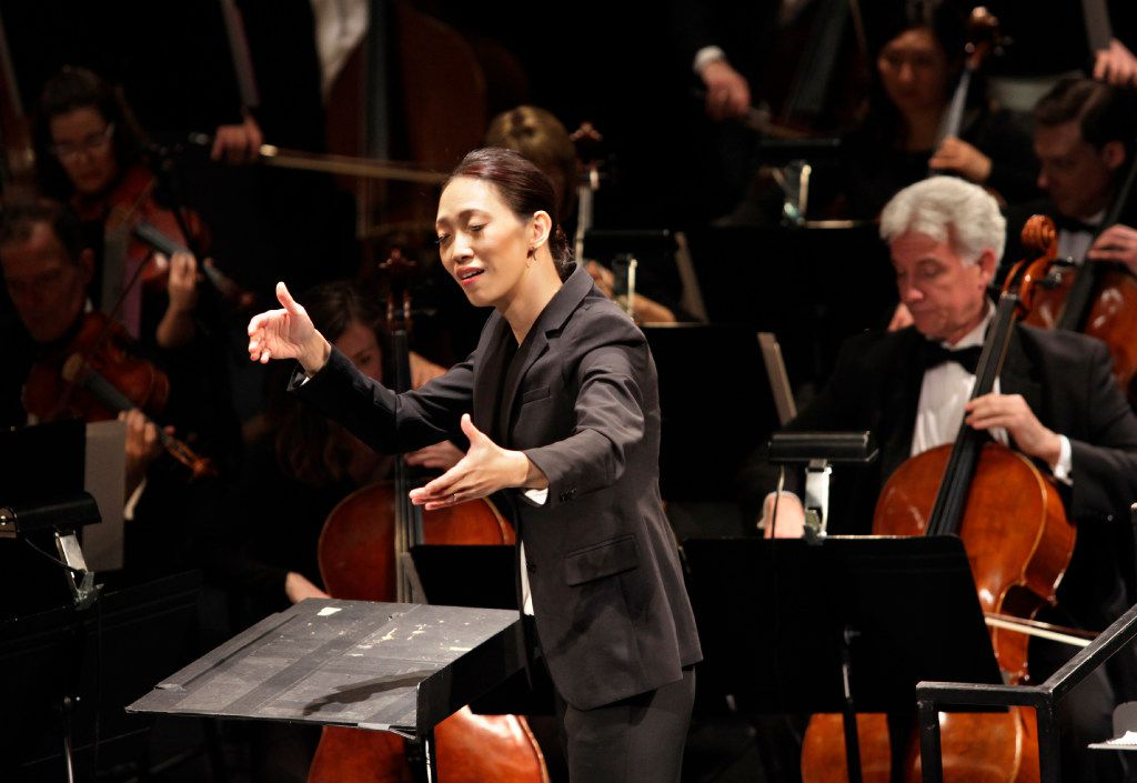 Chaowen Ting conducts during the Institute For Women Conductors event at the Winspear Opera House in Dallas, TX, on Dec. 10, 2016. (Jason Janik/Special Contributor)