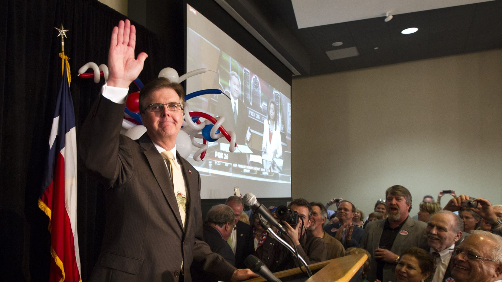 """A victorious Dan Patrick, addressing supporters in Houston on Tuesday, said """"If the Democrats think that they're going to bring Obama liberalism to Texas and win, they have a long, cold day in November ahead of them."""""""