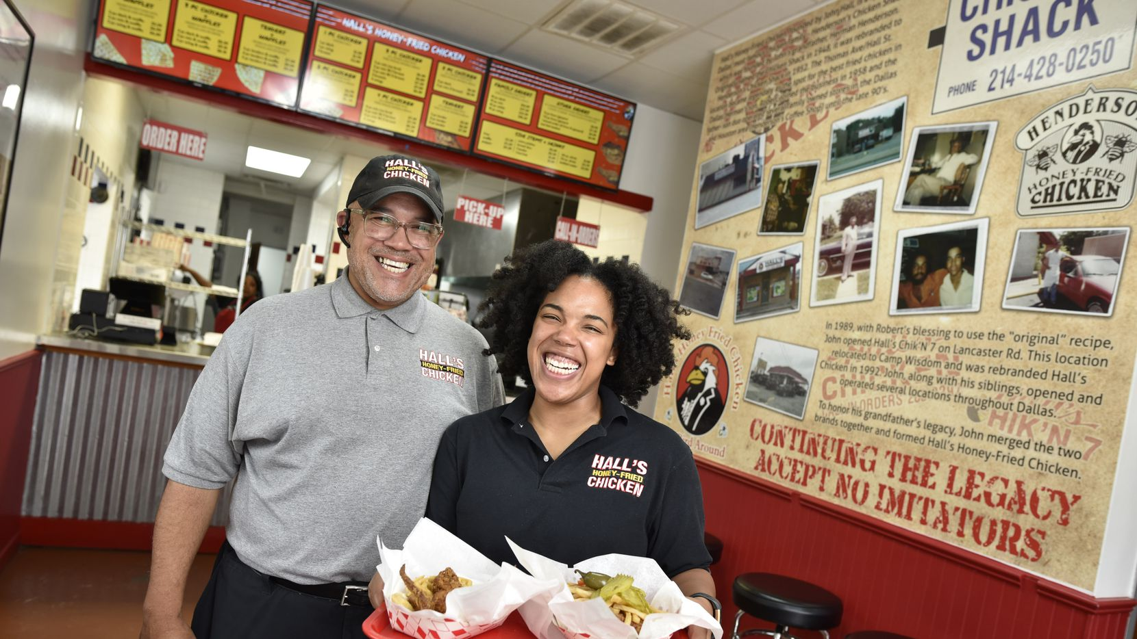 John Hall, founder of Hall's Honey Fried Chicken, and his daughter Mackenzie Hall, owner of Hall's Honey Fried Chicken at the Medical District location in Dallas on Oct. 14, 2019. Ben Torres/Special Contributor