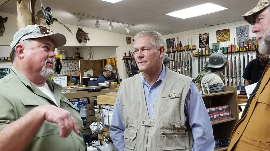 Former Dallas congressman Pete Sessions speaks with supporter Jerry Gribble, right, a local lawyer, and Steve Hicks, an oil field supply salesman, at a College Station outdoor supply store on Feb. 22, 2020. Sessions, who lost his seat in 2018 to Democrat Colin Allred, was campaigning for the 17th Congressional District seat being vacated by Rep. Bill Flores, R-Bryan.