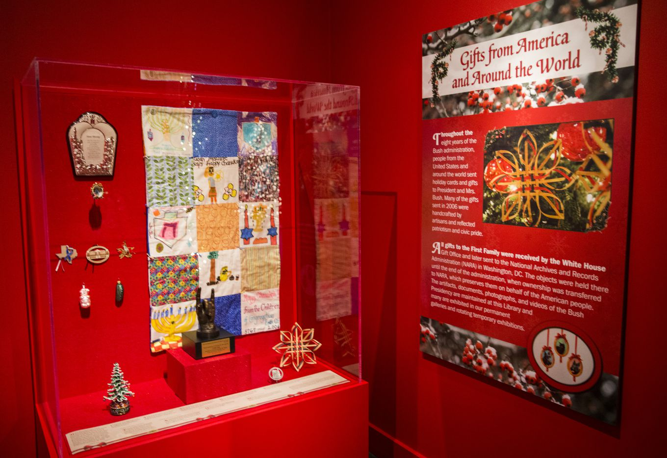 Gifts given to the Bush family in 2006 are displayed at a Christmas exhibit at The George W. Bush Presidential Center and Library on Thursday, November 15, 2018 on the SMU campus in Dallas. This year's theme is Deck the Halls and Welcome All: Christmas at the White House 2006. (Ashley Landis/The Dallas Morning News)