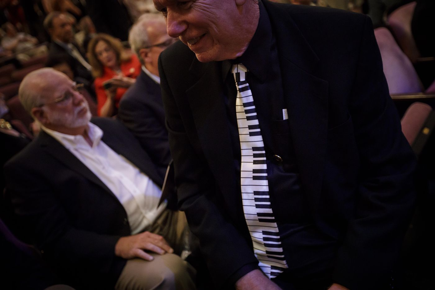 A man in the audience wears a tie showing piano keys to the Van Cliburn International Piano Competition awards ceremony at the Bass Performance Hall in Fort Worth on Saturday, June 10, 2017. (Smiley N. Pool/The Dallas Morning News)
