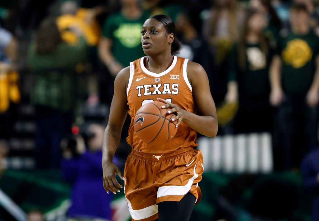 Texas guard Joyner Holmes (24) moves then all up court against Baylor during an NCAA college basketball game in Waco, Texas, Monday, Feb. 25, 2019. (AP Photo/Tony Gutierrez)