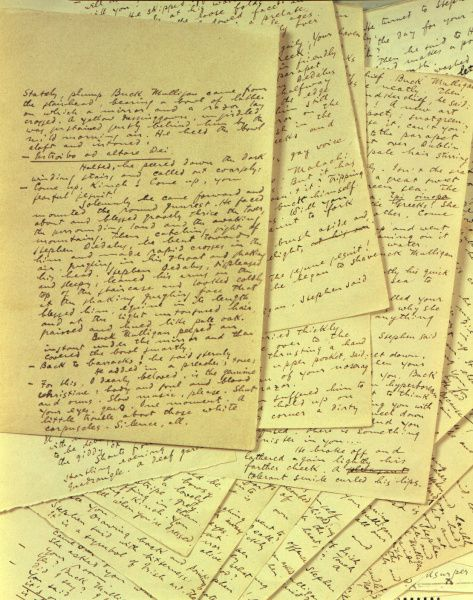 Pages from the original manuscript of James Joyce's Ulysses [1916-1922] are always on display at the Rosenbach Museum & Library. It is considered a gem of a small museum. Copyright is reserved by the literary trustees of the James Joyce Estate.