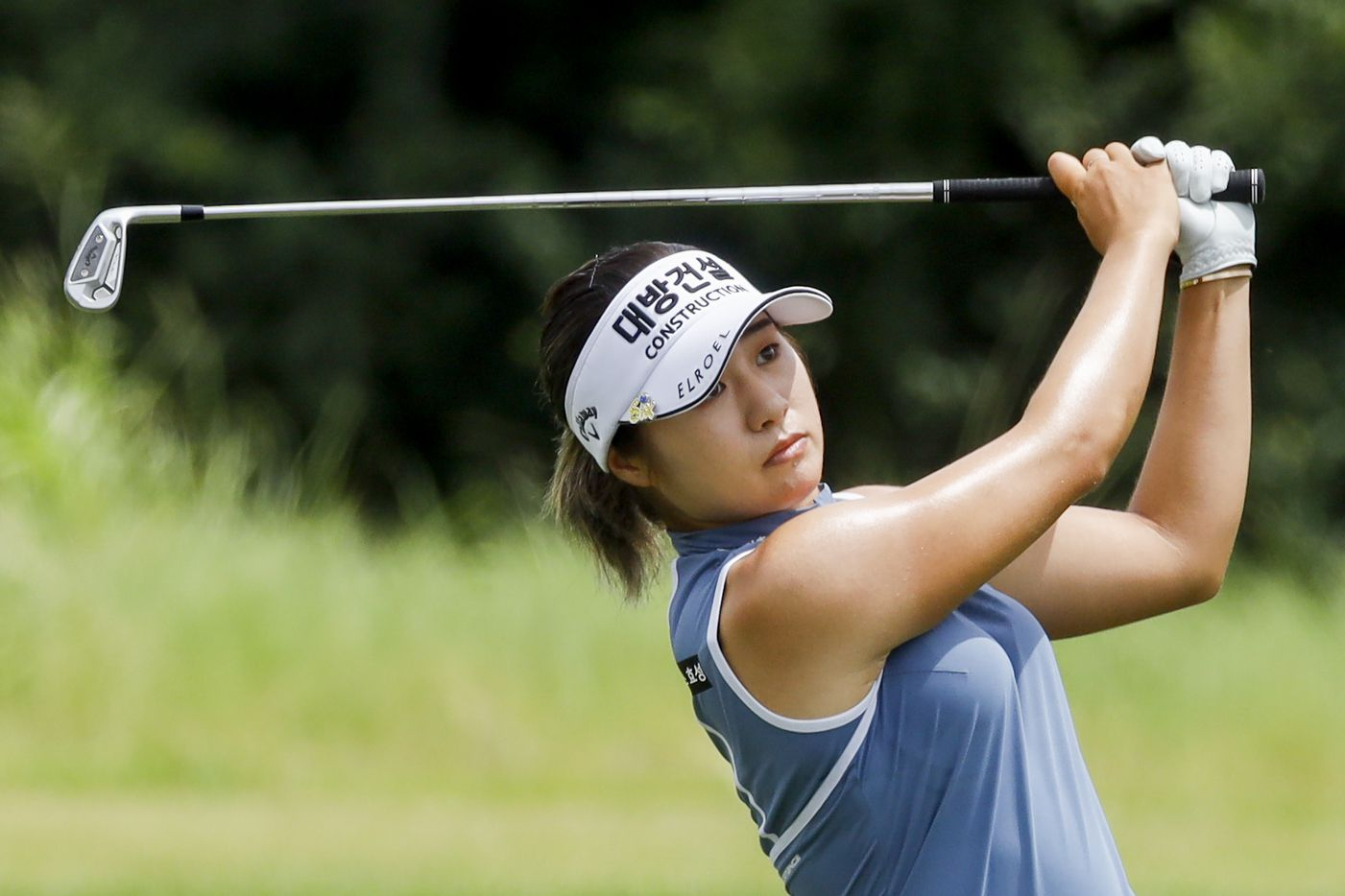 Professional golfer Jeongeun Lee6 watches her ball on the No. 9 fairway during the second round of the LPGA VOA Classic on Friday, July 2, 2021, in The Colony, Texas. (Elias Valverde II/The Dallas Morning News)