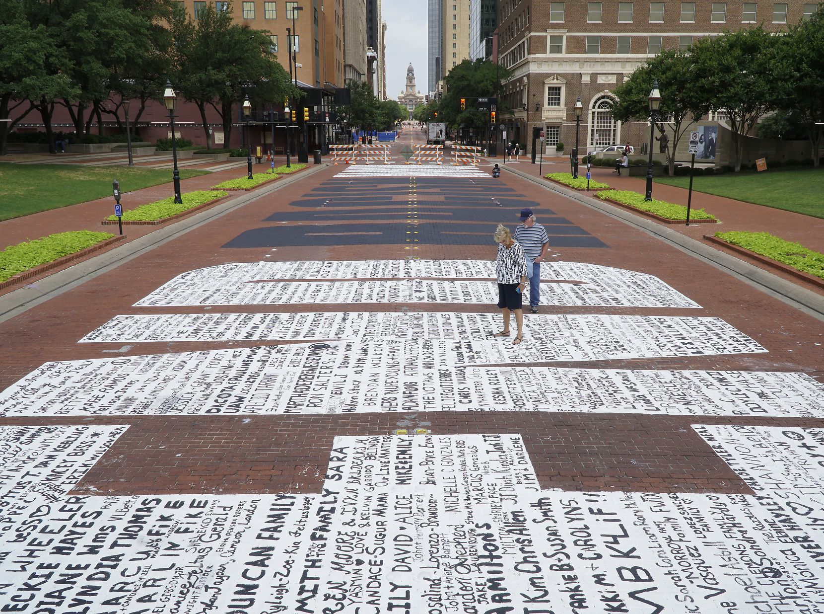 """End Racism Now"" mural in downtown Fort Worth on Tuesday, June 30, 2020.(Lawrence Jenkins/Special Contributor)"