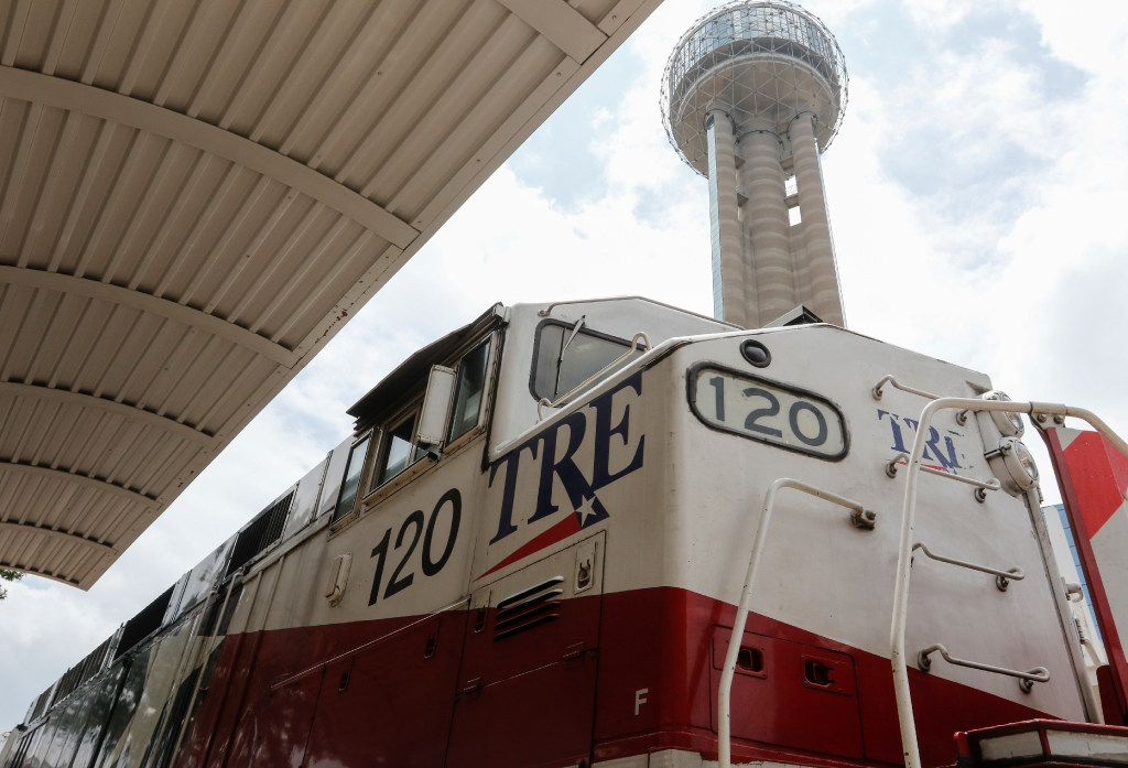 The TRE waits for passengers at Union Station in downtown Dallas in 2017. The Trinity Railway Express connects Fort Worth and Dallas.
