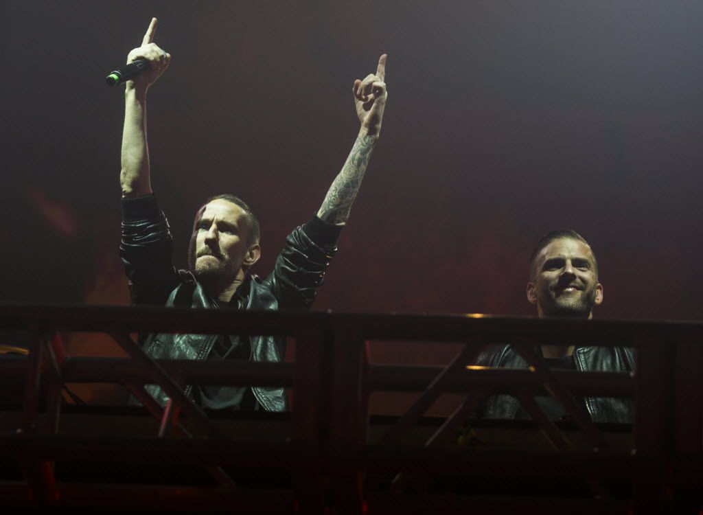 DJ duo Galantis performs during the Lights All Night New Year's Eve party on Thursday, December 31, 2015 at Dallas Market Hall in Dallas.