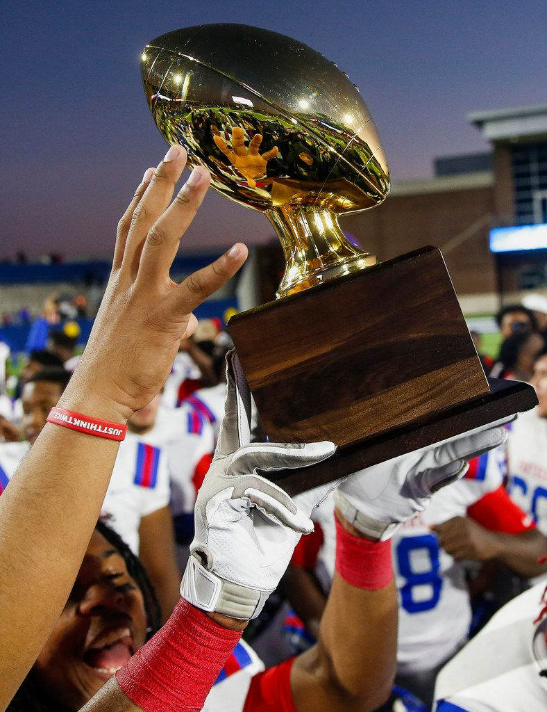 The Duncanville Panthers celebrate a win over Rockwall in the Class 6A Division I state semifinal football matchup on Saturday, Dec. 14, 2019 at McKinney ISD Stadium in McKinney, Texas. (Ryan Michalesko/The Dallas Morning News)