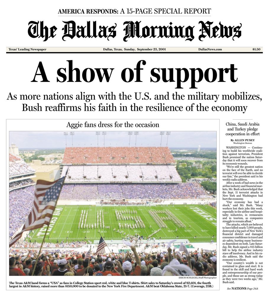 The front page of The Dallas Morning News from Sept. 23, 2001.
