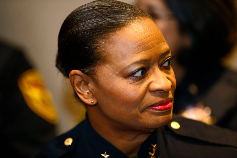 Marian Brown waited to named interim county sheriff at the Dallas County administration building in Dallas on Tuesday.
