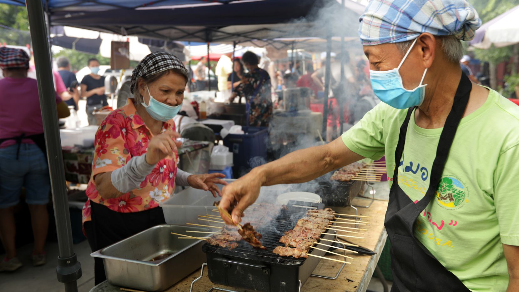 The Sunday Thai Food Market at the Buddhist Center of Dallas is already back to bustling.