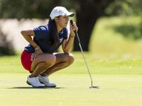 Frisco Centennial's Gabbi Bentancourt studies her shot on the 10th green during round 1 of the UIL Class 5A girls golf tournament in Georgetown, Monday, May 13, 2019.
