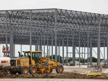 The more than Core 5 Logistics Center under construction on Logistics Drive, east of Bonnie View in Dallas on Wednesday, June 2, 2021. (Lola Gomez/The Dallas Morning News)