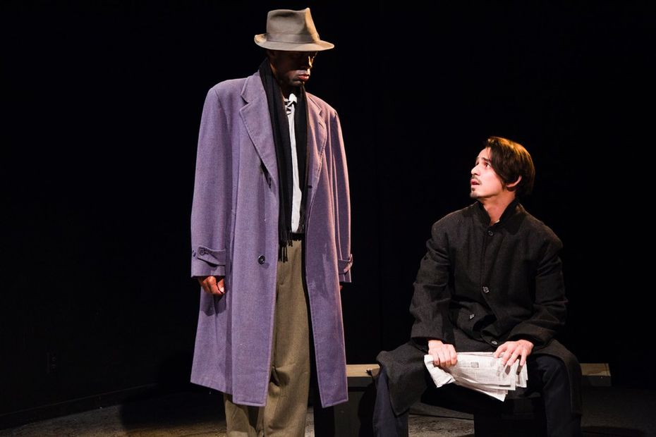 "JR Bradford as  The Old Man and Omar Padilla as  a starving writer in ""An Evening with Two Giants,"" a Days of the Dead play presented by Teatro Dallas."