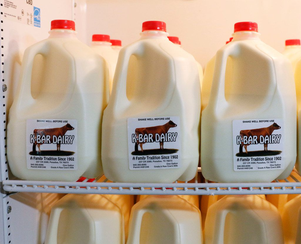 Natural milk from the K-Bar Dairy is available for customers to purchase. K-Bar Dairy is a small, family-operated dairy farm in Wise County that produces raw milk, a type of milk that has not been pasteurized to kill microorganisms. (David Woo/The Dallas Morning News)
