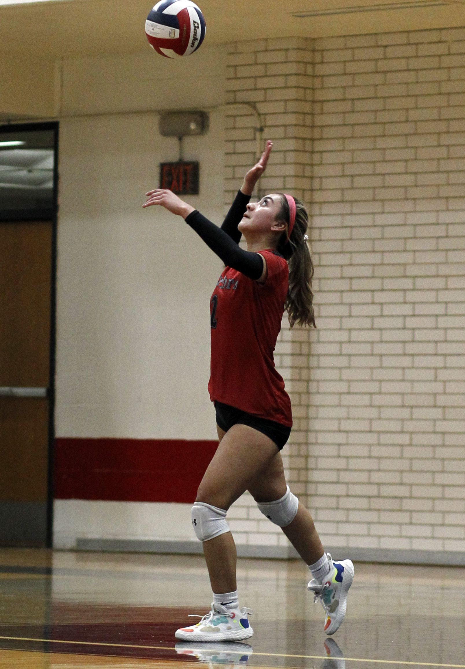 South Grand Prairie's Kylie Ramirez (2) serves during the 3rd set of their match against Arlington Martin. The two teams played their volleyball match at Arlington Martin High School in Arlington on September 14, 2021. (Steve Hamm/ Special Contributor)