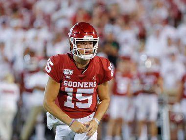 Oklahoma quarterback Tanner Mordecai (15) during the second half of an NCAA college football game in Norman, Okla., Sunday, Sept. 1, 2019. Oklahoma won 49-31. (AP Photo/Alonzo Adams)