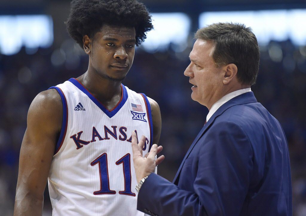 Kansas head coach Bill Self talks strategy with Josh Jackson in action against Texas at Allen Fieldhouse in Lawrence, Kan., Jan. 21.