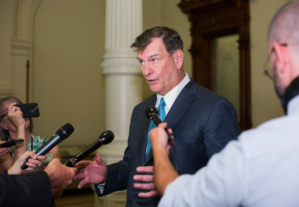 Dallas Mayor Mike Rawlings speaks with reporters after meeting with Gov. Greg Abbott to discuss local control issues on Tuesday.