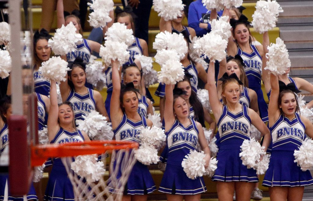 Trophy Club Byron Nelson cheerleaders had plenty to cheer about enroute to their straight sets victory over Coppell, 25-14, 25-21, 25-11 to advance. The two teams played their first-round Class 6A volleyball playoff match at Keller Central High School in Fort Worth on November 5, 2019. (Steve Hamm/ Special Contributor)