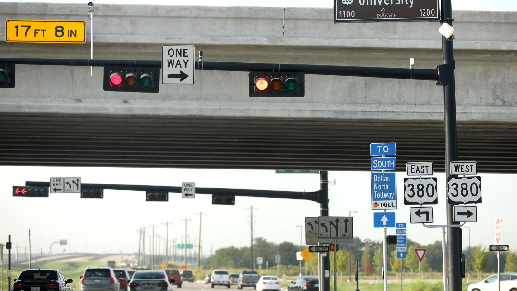 The intersection of the Dallas North Tollway and Highway 380 in Prosper and Frisco, Texas, Thursday, September 5, 2019. This is taken from the northwest corner looking towards the southwest corner.