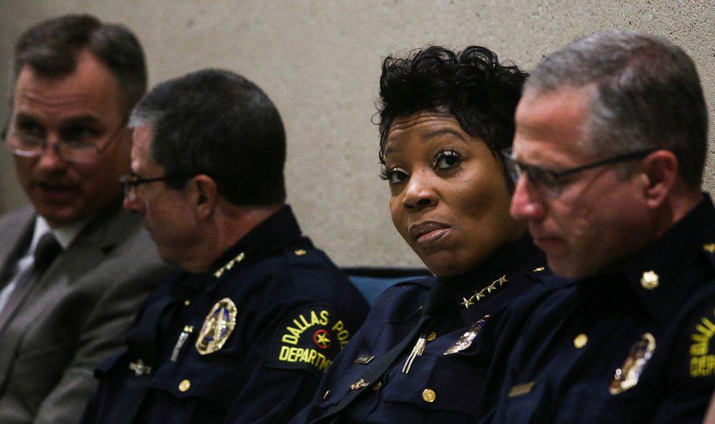 Dallas Police Chief U. Renee Hall attends a City Council meeting June 12, 2019 at Dallas City Hall. (Ryan Michalesko/The Dallas Morning News)