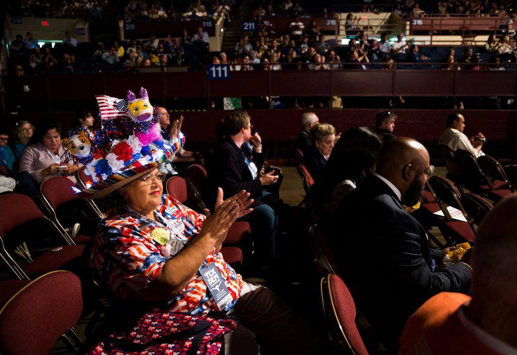 Carmen Duron of Corpus Christi, Texas applauds during the Texas Democratic Convention on Friday, June 22, 2018 at the Fort Worth Convention Center in Fort Worth. (Ashley Landis/The Dallas Morning News)