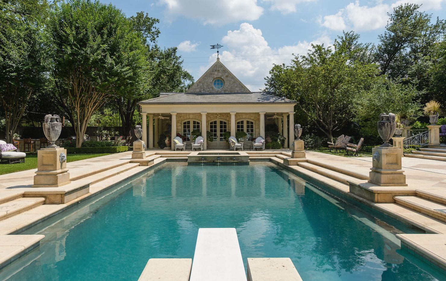 The almost three-acre estate on Hunters Glenn Drive has a pool and cabanas.