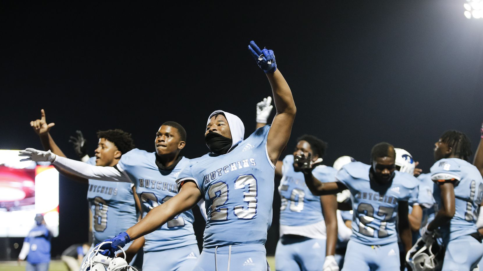 Wilmer-Hutchins senior linebacker Kendall Washington (23) and his teammates celebrate a 31-28 win over Kaufman after a Class 4A Division I bi-district playoff game in Forney, Friday, November 13, 2020. (Brandon Wade/Special Contributor)