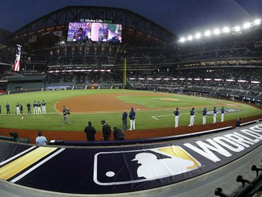 The national anthem is played before the start of Game 4 of the World Series between the Los Angeles Dodgers and Tampa Bay Rays at Globe Life Field in Arlington, Saturday, October 24, 2020.