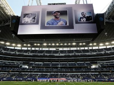 A moment of silence was held for Cowboys strength coach Markus Paul before the game against Washington at AT&T Stadium in Arlington on Thursday, Nov. 26, 2020. Paul died this week at the age of 54.