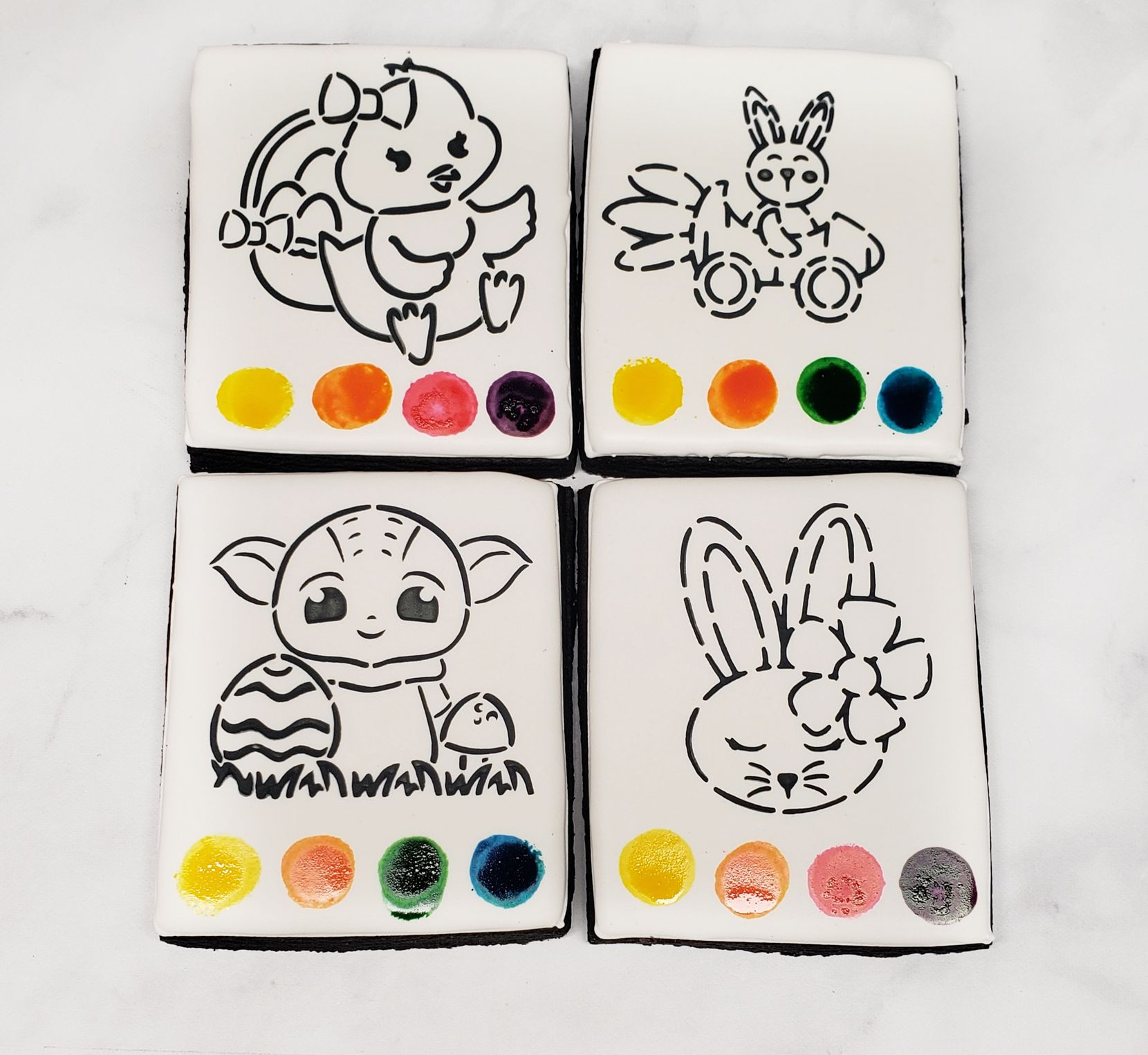 Cookies by Chrysta offers Easter themed paint-your-own-cookies.