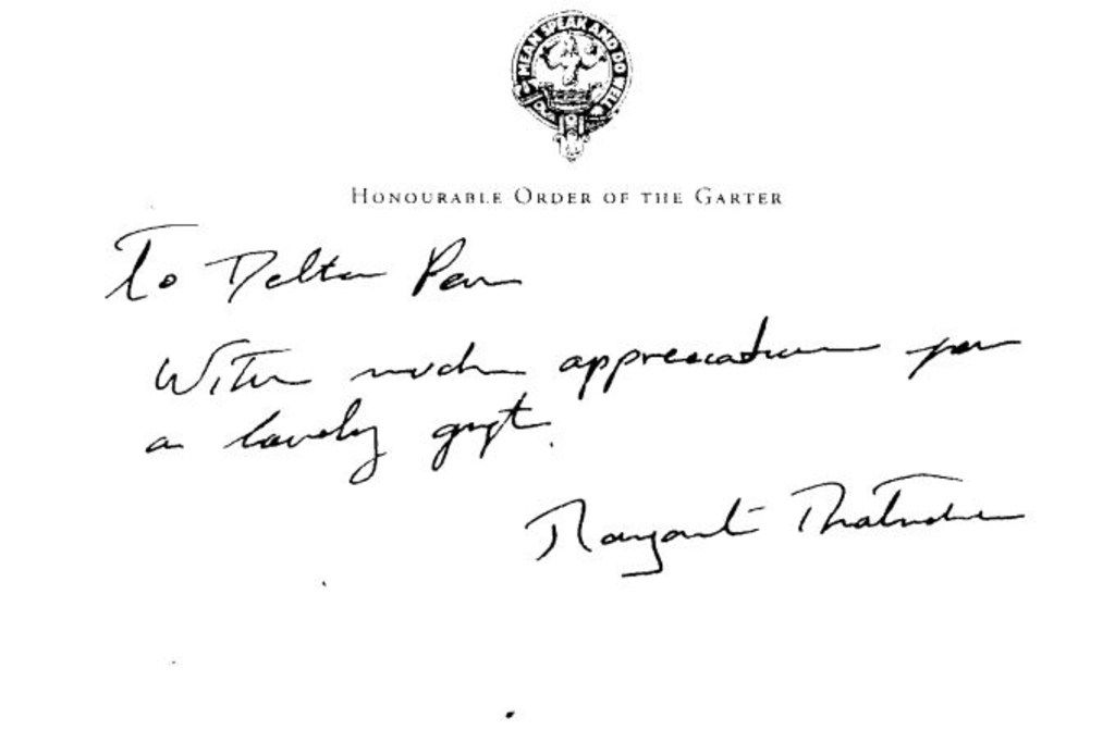 Mauricio Aguirre forged this letter from former British Prime Minister Margaret Thatcher around 2005 to trick a pen dealer into thinking she used one of its pens. He actually kept the pen for himself, prosecutors said.