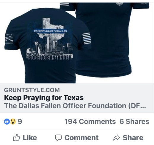 A screenshot of a Facebook post about a T-shirt fundraiser organized by the Dallas Fallen Officer Foundation to benefit the family of fallen Officer Rogelio Santander.