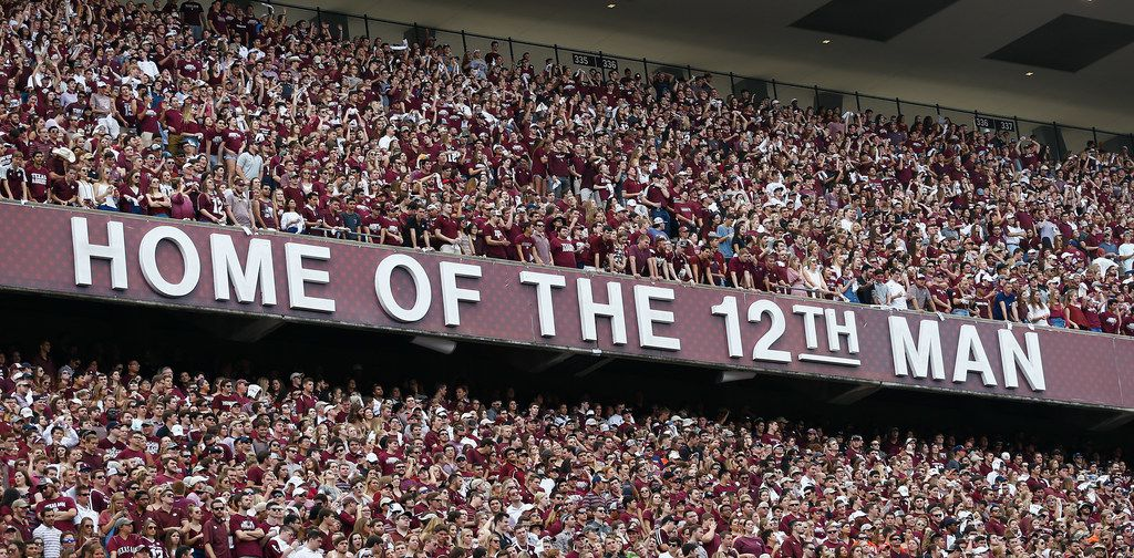 COLLEGE STATION, TX - NOVEMBER 04:  Texas A&M student section at Kyle Field on November 4, 2017 in College Station, Texas.  (Photo by Bob Levey/Getty Images)